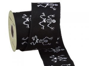 "4""W x 10yd Non-Woven Skeleton Embroidery Ribbon Black White"