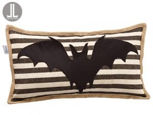 "12""W x 22""L Bat Pillow Black Beige"
