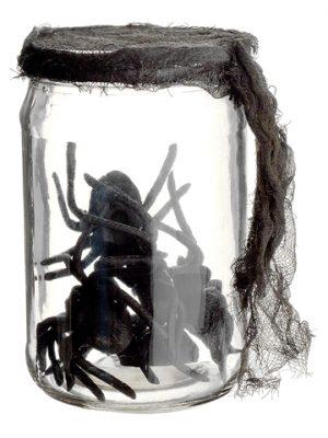 """5.5"""" Glass Jar w/Spiders Black"""