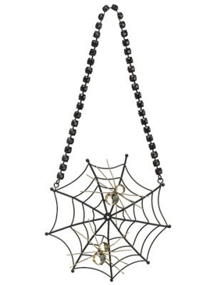 "6.5"" Hanging RhinestoneSpider Web w/SpiderBlack Gold"