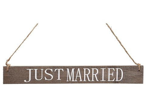 """15"""" Just Married Hanging Sign White Brown"""