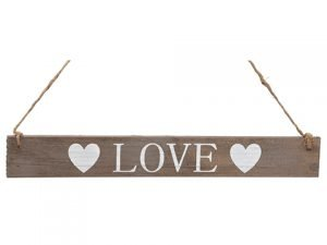 """15"""" Love Hanging Sign White Brown"""