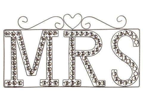 "16""L X 9""H Rhinestone MrsWall DecorAntique Silver"
