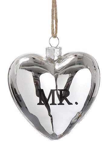 """3"""" Mr. Glass Heart Ornament Antique Silver"""