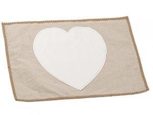 "14""W x 19""L Heart Placemat Cream Beige"