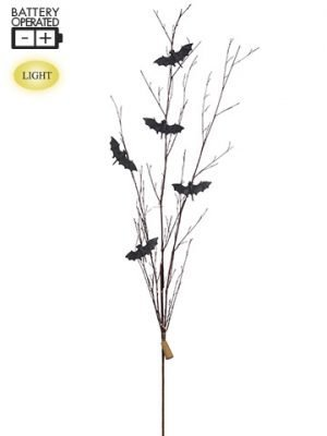 """55"""" Battery OperatedGlittered Bat Twig Spray WithLights Black Brown"""