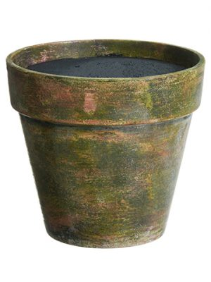 "8.75""H X 9.75""D Paper Mache Pot Antique Brown"