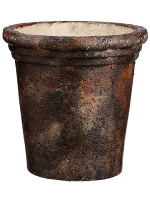 "12""Dx12.4""H Paper Mache Pot Black Brown"