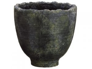 "10.2""Dx10.2""H Terra Cotta Footed Urn Gray Green"