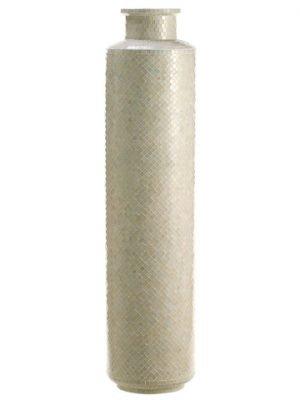 "14""Dx60""H Glass Mosaic TallVaseWhite"