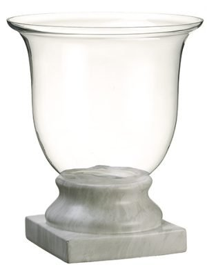 "18.5""H x 15.25""D Glass Vasew/Terra Cotta BaseClear White"