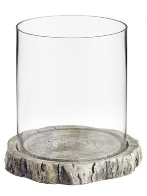 "10""H x 10""D Glass Hurricane With Cement Plate Clear Stone"