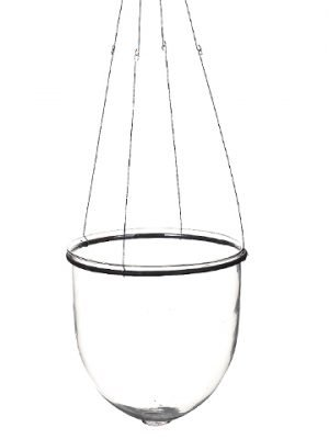 """11""""H x 11""""D Hanging Glass Vase Clear"""