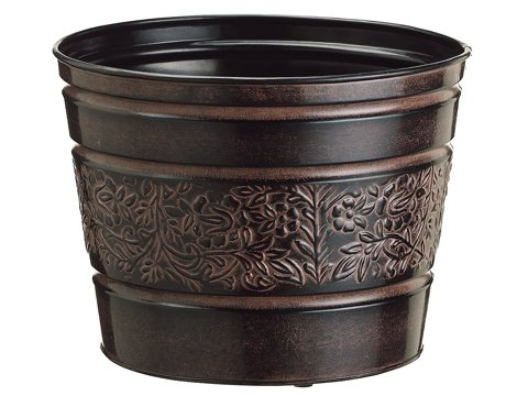 "10""Dx8""H Round Planter Brown"