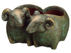 "5.25"" Sheep Planter Green Brown"