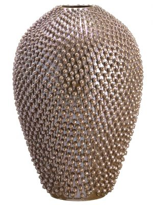 "16.3""Dx24""H Sea Urchin Pattern Ceramic Vase Lilac Bronze"