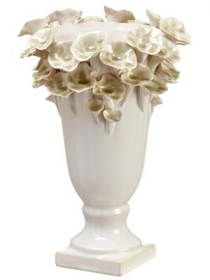 "10.6""Hx.8""D Ceramic Vase White Green"