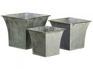 "10""H-13""H x 10.5""W-14.25""Wx 10.5""L-14.25""L Tin Planter w/Liner (3 ea./set) Gray"