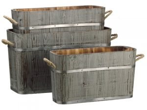 "10""H-14""H x 7""W-9.6""W x 19""L-24""L Wood Planter (3 ea./set) Gray"
