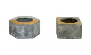 Nuts and bolts industrial modern concrete candleholder