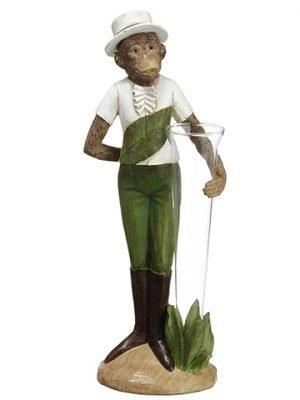 """13"""" Monkey Vase White Green"""