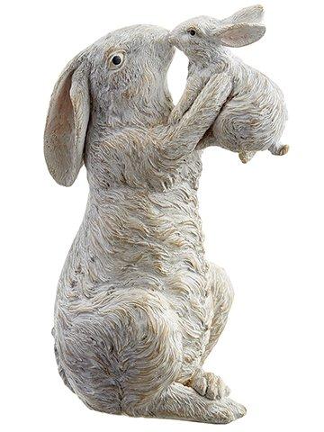 "11"" Mother Bunny Kissing Baby Bunny Beige Gray"