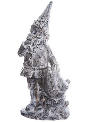 "12.5"" Garden Gnome With Bird Gray Whitewashed"