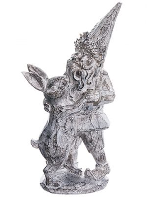 "14.5"" Garden Gnome With Rabbit Gray Whitewashed"