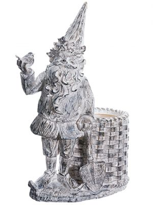 "15.5"" Garden Gnome With Basket Gray Whitewashed"