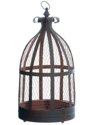"""24"""" Tin Meshed Birdcage Rust"""