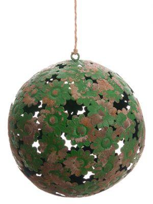 """7.5"""" Metal Ball Ornament Antique Green"""