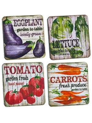 "4""W x 4""L Vegetable Coasters (4 ea/set) Mixed"