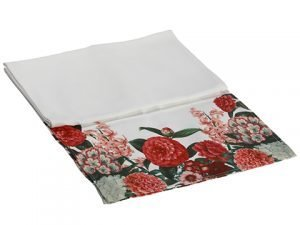 "14""W x 72""L Outdoor Camellia/ Peony Table Runner White Red"