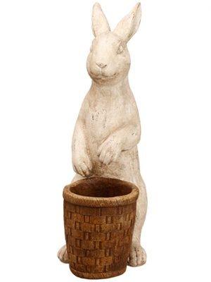 "17"" Bunny With Basket Beige Brown"