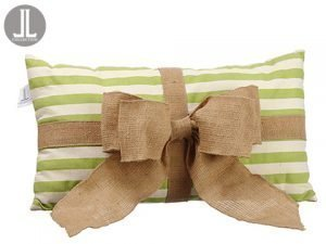 "12""W x 21""L Bow Tie Stripe Pillow Green Beige"