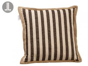 "16""W x 16""L Stripe Pillow Black Beige"