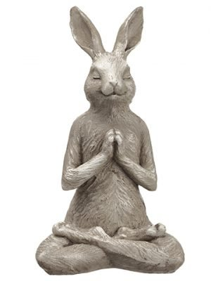 "14"" Poly Resin Yoga Bunny Beige Green"