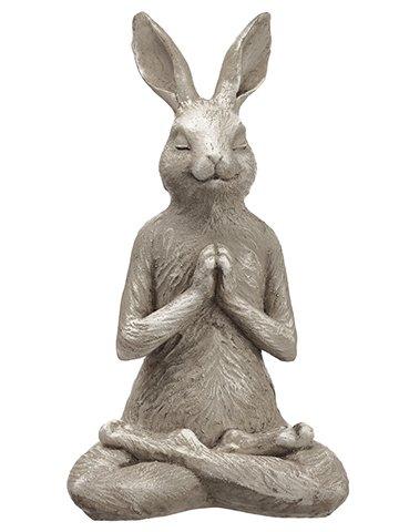 "14"" Poly Resin Yoga Bunny Beige Green"