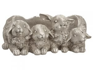 """5.4"""" Poly Resin Bunny Planter Beige Green"""