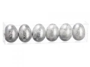 """2""""H x 2.5""""W x 11.5""""L Egg (6ea/acetate box)White Silver"""