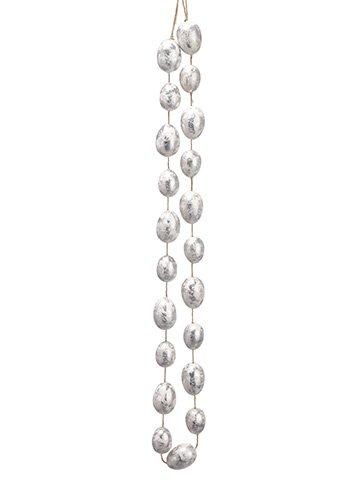 5' Egg Garland White Silver