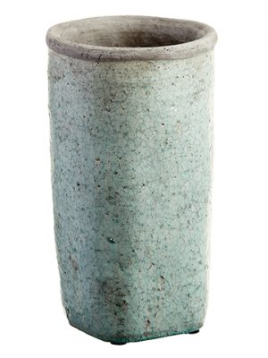 "14.25""H x 8""D Stoneware Planter Antique Green"