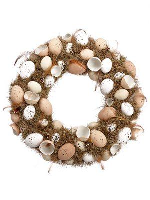 "18.5"" Egg Wreath Beige Brown"