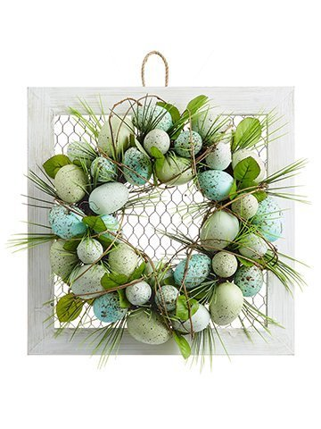 """15""""W x 15""""L Egg Wreath onMeshed Wood FrameBlue Aqua"""