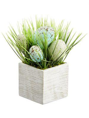"7"" Egg/Grass Arrangement inWood BoxBlue Aqua"