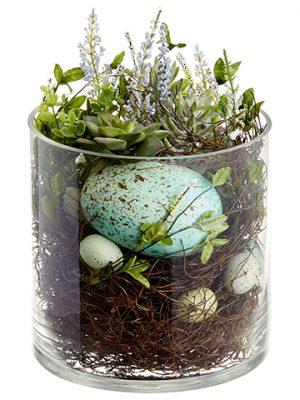 "10"" Egg/Succulent Arrangementin Glass VaseGreen Turquoise"