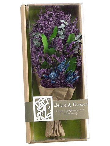 """16"""" Preserved Statice/ThistleBouquet in BoxPurple"""