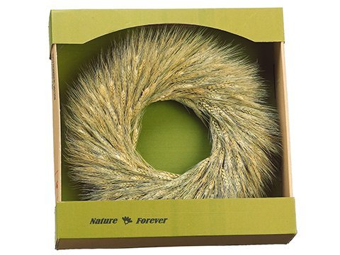 """16.9"""" Preserved Wheat Wreath Natural"""