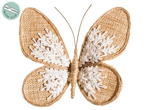 "5""W x 6""L Burlap Lace Butterfly w/Clip Natural White"