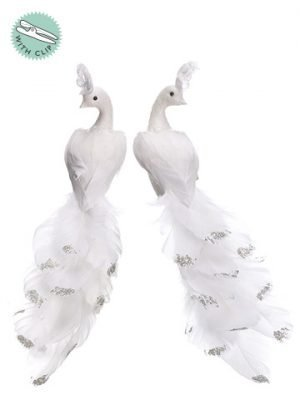 """11"""" Glittered Feather BirdWith Clip (2 Ea/set)White"""